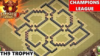 getlinkyoutube.com-Clash Of Clans | Epic TH9 Champions League Trophy Base 2015! Maze Tricky Base!
