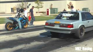 getlinkyoutube.com-Street Race. R1 vs Nitrous mustang. $$$
