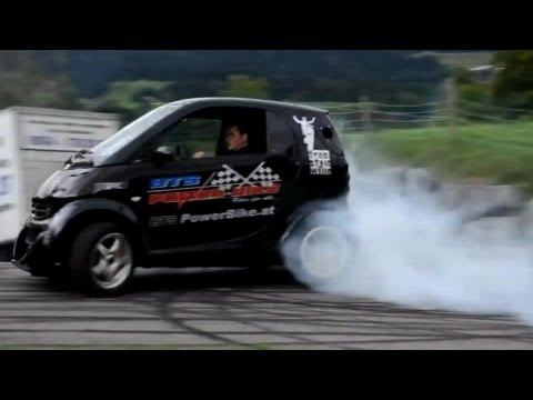 Smart Car With Hayabusa Turbo Engine! Smart Hayabusa Donuts