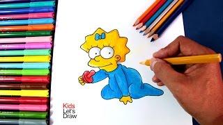 getlinkyoutube.com-How to draw MAGGIE SIMPSON | Cómo dibujar a la bebé Maggie de Los Simpsons