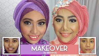getlinkyoutube.com-Makeover Tutorial : Makeup & Hijab Pesta by Invindy