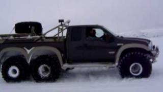 """getlinkyoutube.com-49"""" Ford F-350 6X6 driving on Langjökull glacier"""