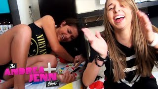getlinkyoutube.com-Andrea & Jenn play TWISTER - board game challenges - THE ANDREA & JENN SHOW ep. 9