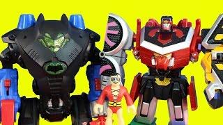 getlinkyoutube.com-Imaginext Robot Wars Ultimate Championship Round 2 Batman Batbot Ty Rux Megazord & Captain America