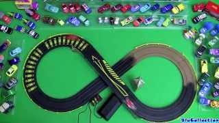 getlinkyoutube.com-Cars 2 London City Raceway Slot Car Racing Track Speedway McQueen VS. Francesco Disney Pixar