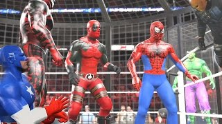 WWE 2K15 - Spiderman vs Carnage vs Deathstroke vs Deadpool vs Captain America vs Incredible HULK