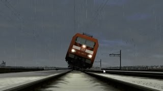 getlinkyoutube.com-Train Simulator 2013 epic action - driving on 2 (4) wheels