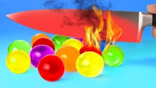 EXPERIMENT Glowing 1000 degree KNIFE VS 15 OBJECTS! Orbeez Crayons Sour Candy and Toys! SATISFYING