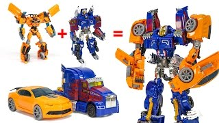 getlinkyoutube.com-Transformers AOE Optimus Prime + Bumblebee Combiner Robot Vehicle Track Robot Car Toys