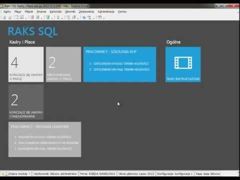 Ekran ułatwiający pracę w module Kadry i Płace systemu RAKSSQL