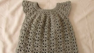 getlinkyoutube.com-How to crochet an easy shell stitch baby / girl's dress for beginners