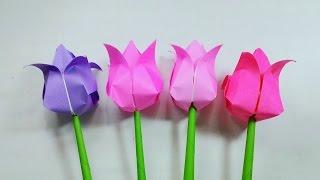 getlinkyoutube.com-Origami Tulips ...พับดอกทิวลิป...