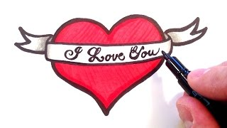 getlinkyoutube.com-How to Draw a Heart with a Ribbon