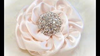 getlinkyoutube.com-DIY Kanzashi Flower, Ribbon Rose, Tutorial, DIY,  One piece, no cuts