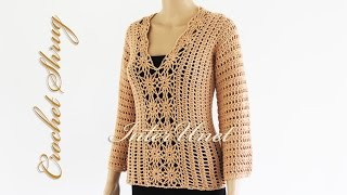 getlinkyoutube.com-Lace sweater shrug crochet pattern - how to crochet a pullover. Part 1 of 2