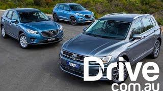 2017 Volkswagen Tiguan v Mazda CX-5 v Hyundai Tucson | Drive.com.au