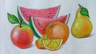 getlinkyoutube.com-Уроки рисования. Как научится рисовать фрукты How to draw Fruit