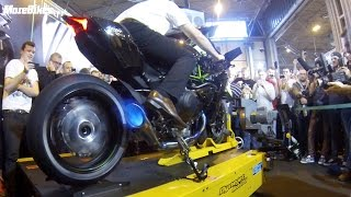 getlinkyoutube.com-Motorcycle Live - 326bhp Kawasaki Ninja H2R spits flames on rolling road dyno BEST VIDEO!