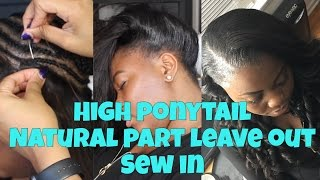 getlinkyoutube.com-Thin Hair High Ponytail Sew in (Leave Out)