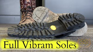 getlinkyoutube.com-Work Boots Full Restoration ** Full Vibram Soles**