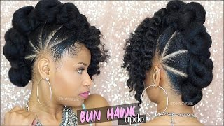 getlinkyoutube.com-BAD AZZ BUN-HAWK UPDO ➟ Natural Hair Tutorial