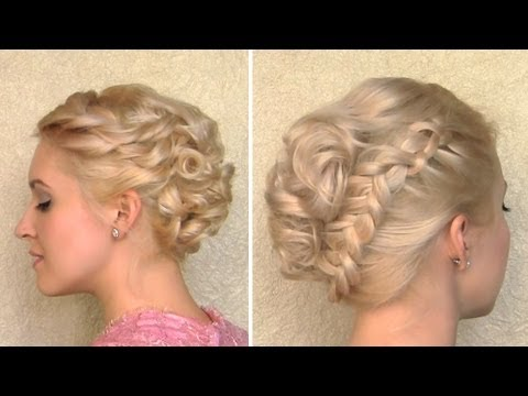 Christmas hairstyle for medium long curly hair tutorial Braided updo for short layered hair