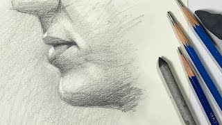 getlinkyoutube.com-Watercolor Portrait Workshop 1 - Man in Profile - lesson 8: Draw the Mouth with Graphite