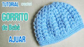 getlinkyoutube.com-DIY Gorrito de bebé punto puff   Crochet AJUAR varón