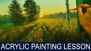getlinkyoutube.com-Acrylic Painting Lesson | Morning on Road by JM Lisondra