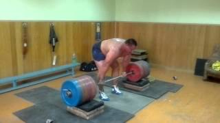 getlinkyoutube.com-Koklyaev deadlift from high bar position 14 cm. 885,5 LB /  402,5 KG, 4 reps