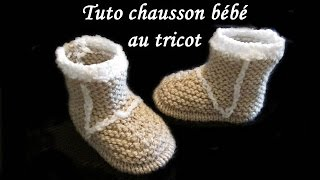 getlinkyoutube.com-TUTO CHAUSSON BOTTE BEBE AU TRICOT FACILE tutorial slipper baby boot easy to knit