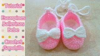 DIY Como tejer escarpines, ballerinas, zapatitos para bebe a crochet, ganchillo