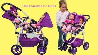getlinkyoutube.com-Dimples Ella Tandem Dolls Stroller Twin Baby Dolls go for a walk Little Girl and Dolls Pretend Play