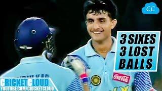 getlinkyoutube.com-Sourav Ganguly DADA on Beast Mode !! 3 SIXES - 3 LOST BALLS !!