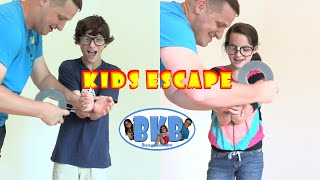 getlinkyoutube.com-Bratayley Knows How to Escape | Kids Escape from Zip Ties and Duct Tape | BKB
