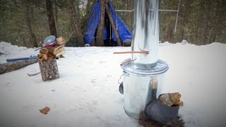getlinkyoutube.com-Off Grid experiment: Firing up my virgin Rocket Stove / Water Heater