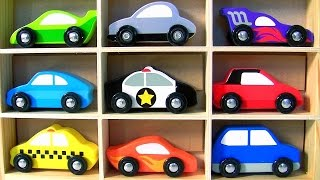 Wooden Cars Set Baby Toys with Display Case Racecars, Van, Police Car, Taxi by TOYS CLUB