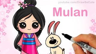 getlinkyoutube.com-How to Draw Chibi Mulan step by step Cute Disney Princess