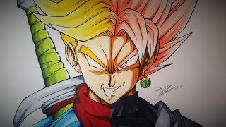 getlinkyoutube.com-Drawing Future Trunks VS Black Goku Super Saiyan Rose | Dragonball Super | TolgArt