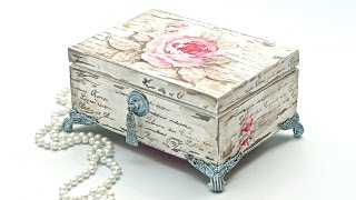 getlinkyoutube.com-Decoupage pudełko vintage postarzane przetarciami