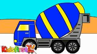 getlinkyoutube.com-Rainbow Colors Book: Kids Learn Colours & Vehicles: Cement Truck! {水泥车}