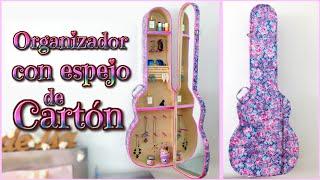 getlinkyoutube.com-IDEA DIY DECORA TU CUARTO - organizador de CARTON con espejo - guitarra - Isa ❤️