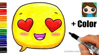 How to Draw + Color Love Speech Bubble Emoji Easy