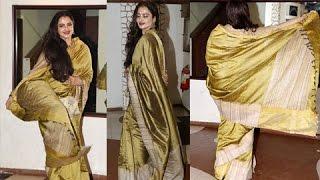 getlinkyoutube.com-Rekha Twirls In A Saree At Javed Akhtar Birthday Bash 2017