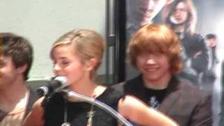 Rupert Grint, Emma Watson, Daniel Radcliffe speak at the Hand/Wand/Foot Ceremony