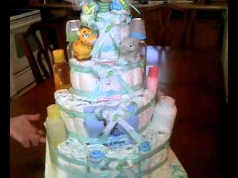 pastel de pañales para baby shower de niño
