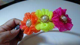 getlinkyoutube.com-Diademas decoradas con rosetones en cinta organza.in rosette headband