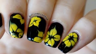getlinkyoutube.com-How to marble Simple Yellow Dotted Flowers nailart tutorial
