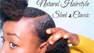 getlinkyoutube.com-Natural Hairstyle Cute Simple Sleek Low Afro Puff on Short Medium Length 4C Natural Hair Tutorial