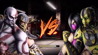 getlinkyoutube.com-Mortal Kombat (2011) - Tag Ladder - Kratos & Scorpion - No Matches/Rounds Lost (HD)